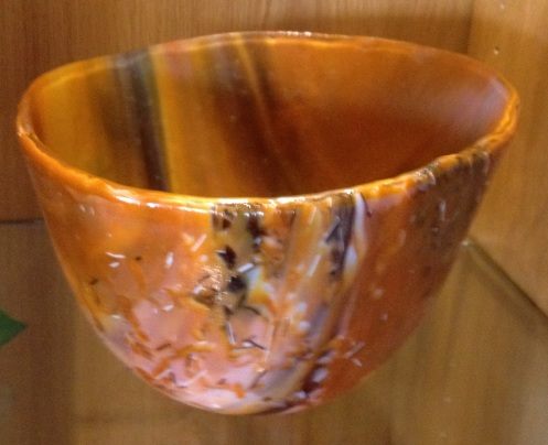 db Studio Glass Bowl Orange-Brown stripe and speckle