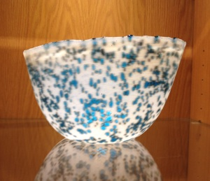 db Studio Glass Bowl White with Blue Speckles