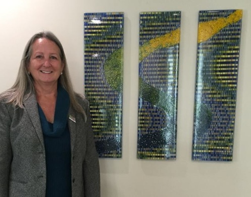 New Art installation at American Cancer Society Hope Lodge in Salt Lake City entitled Pathway/Journey by glass artisan Deborah Barnard
