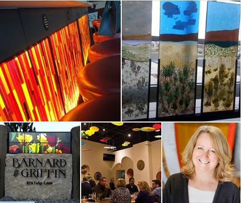 Fused / kilnformed glass architectural installations created by Deborah Barnard of db Studios