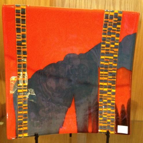 db Studio Plate Amber Orange with inlay striping