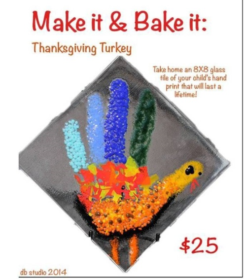 db Studio Glass Class for Kids and their Moms -Turkey Hand for Thanksgiving