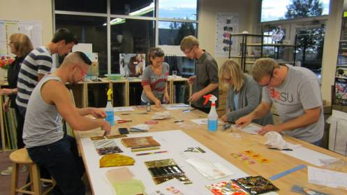 Students at work in db Studio Glass Class