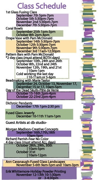 db Studio Fall / Winter Glass Class Schedule
